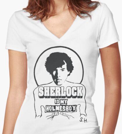 Sherlock is my Holmesboy. Women's Fitted V-Neck T-Shirt