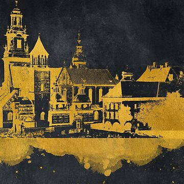 Krakow skyline gold black #cracow by JBJart