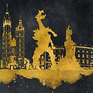 Krakow skyline gold black #cracow by JBJart