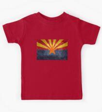 State flag of Arizona, with vintage retro style treatment Kids Tee