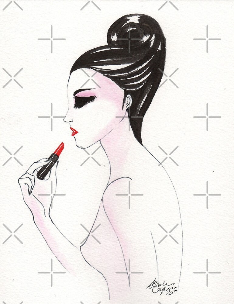 Fashion illustration lipstick by Onyria Art
