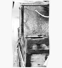 Old Wood grain traveling trunks - black and white Poster