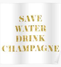 Speichern Sie Wasser-Getränk-Champagner - Imitat-Goldfolie Poster