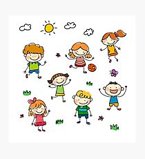 Kids playing outside in summer Photographic Print
