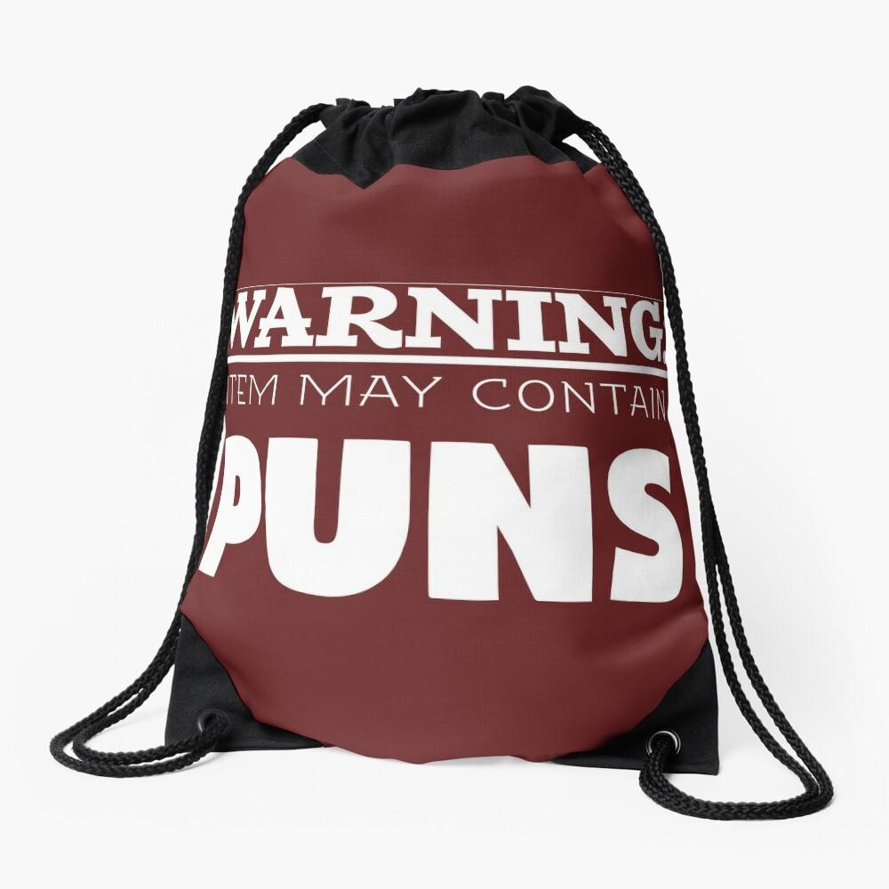 Copy of May Contain Puns Drawstring Bag
