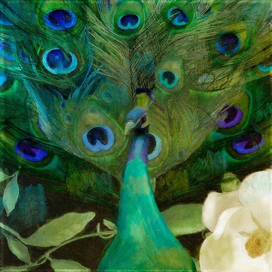 Aqua Peacocks by mindydidit