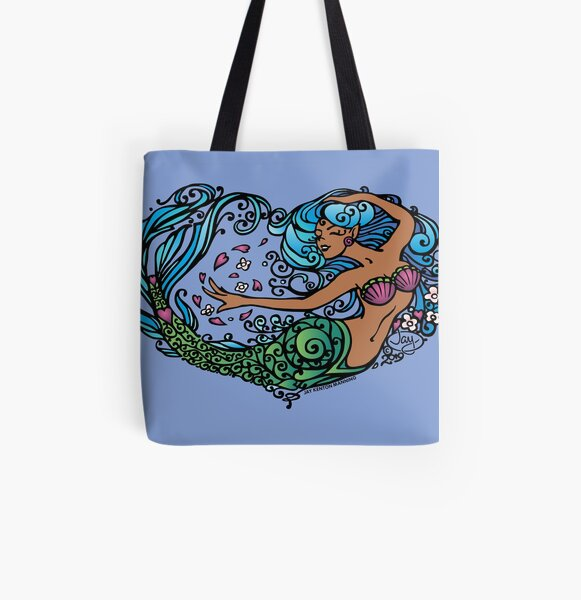 Heart of a Mermaid- Color- Dark All Over Print Tote Bag