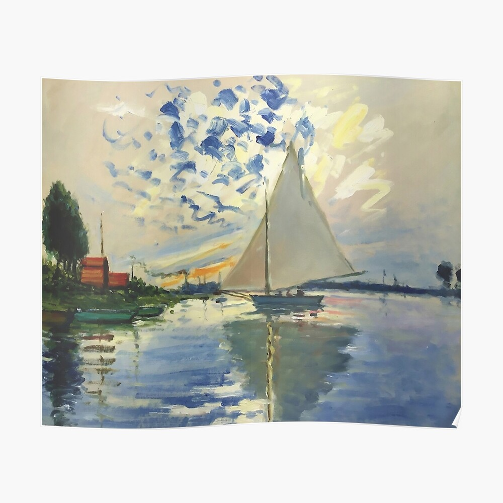 Laminated Claude Monet Sailboat at Le Petit Gennevilliers Art Print Sign Poster