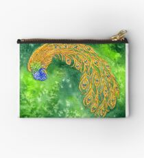 Watercolor Peacock Zipper Pouch