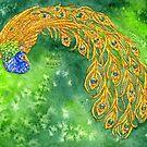 Watercolor Peacock by HAJRA MEEKS