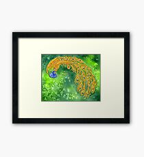 Watercolor Peacock Framed Print
