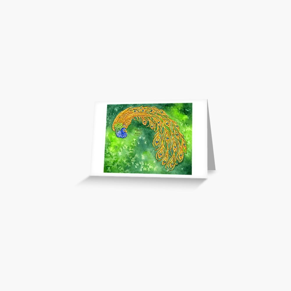Watercolor Peacock Greeting Card