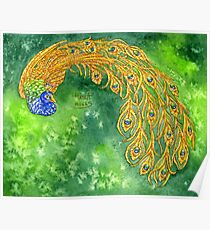 Watercolor Peacock Poster