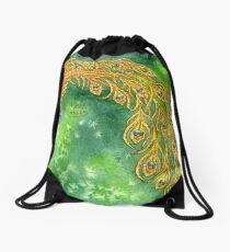 Watercolor Peacock Drawstring Bag