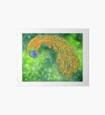 Watercolor Peacock Art Board Print