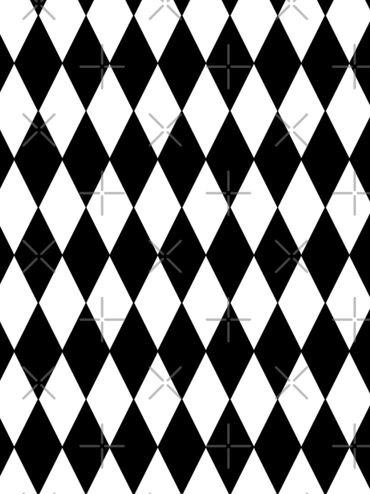 LARGE BLACK AND WHITE HARLEQUIN- DIAMOND- ARGYLE  PATTERN DESIGNED FOR HOME DECOR AND CLOTHING by ozcushionstoo