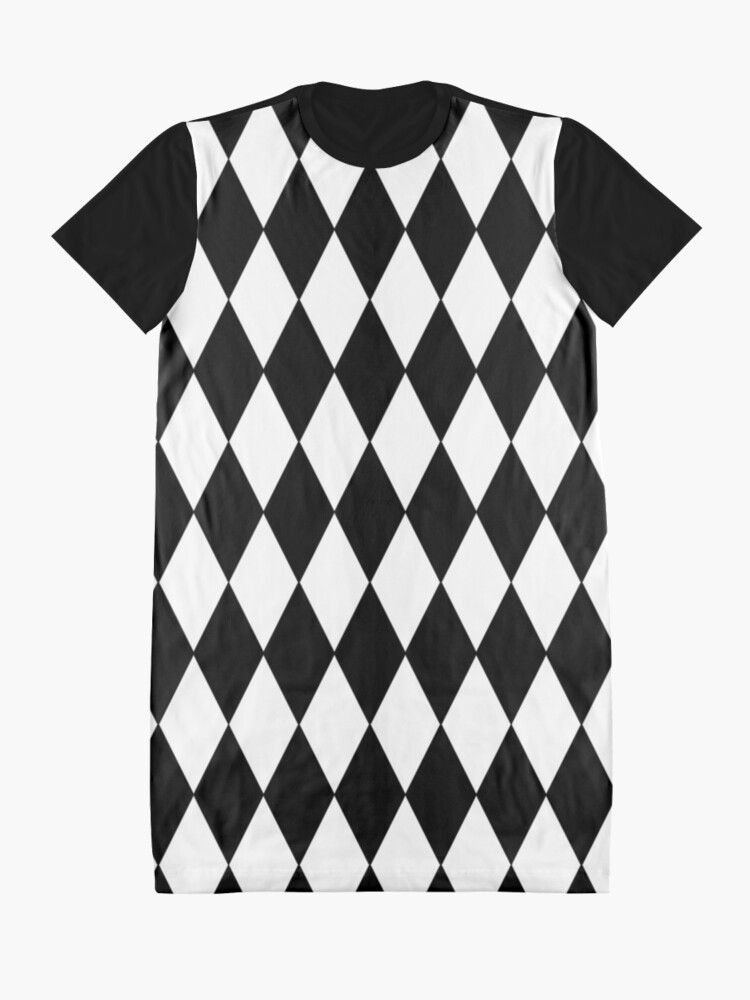 Alternate view of  LARGE BLACK AND WHITE HARLEQUIN- DIAMOND- ARGYLE  PATTERN DESIGNED FOR HOME DECOR AND CLOTHING Graphic T-Shirt Dress