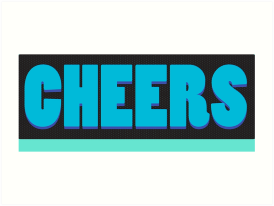 Cheers slogan on turquoise aqua blue by rachjacobs