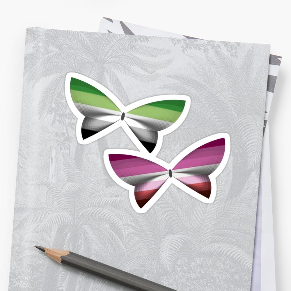 Aro Lesbian Pride Butterflies by shaneisadragon