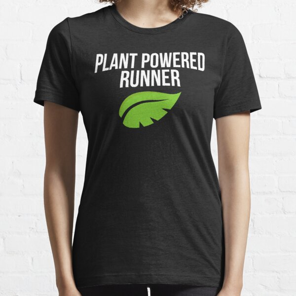 Plant Powered Runner Vegan Trail Marathon Running Essential T-Shirt