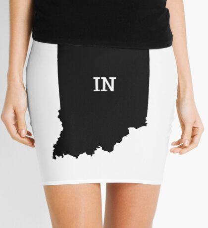 Indiana State Map Abbreviation IN Mini Skirt