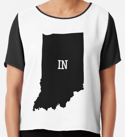 Indiana State Map Abbreviation IN Chiffon Top