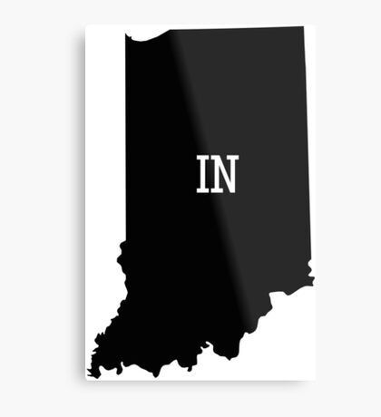 Indiana State Map Abbreviation IN Metal Print