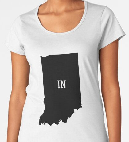 Indiana State Map Abbreviation IN Premium Scoop T-Shirt