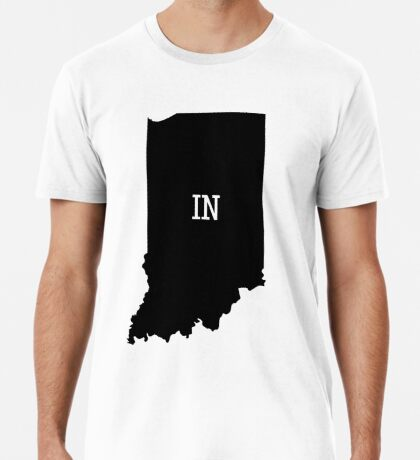 Indiana State Map Abbreviation IN Premium T-Shirt