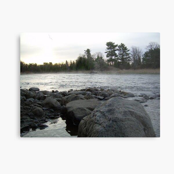 Mississippi river Dawn over the rocks Metal Print
