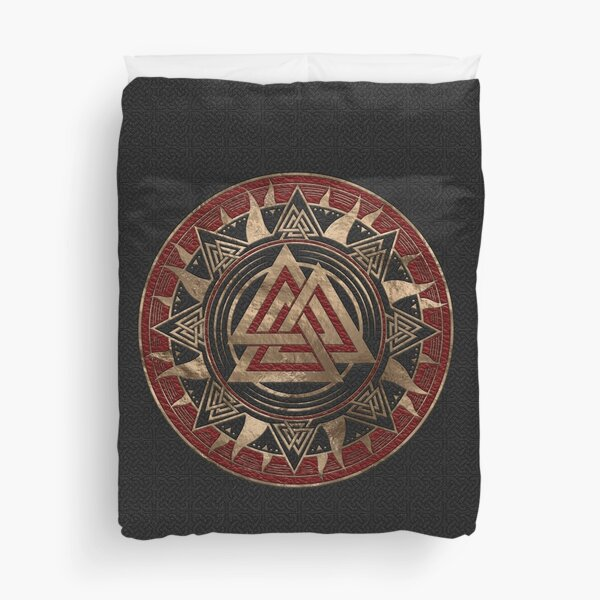 Valknut Symbol Black and Red Leather and gold Duvet Cover