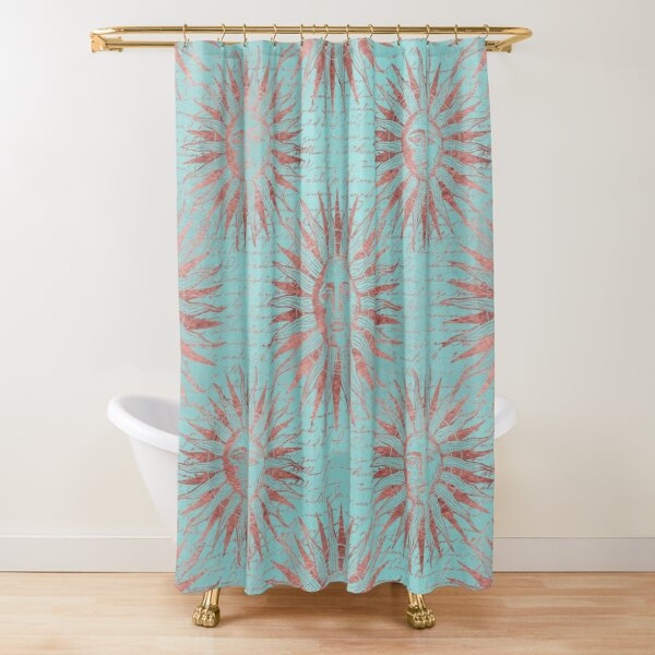 Ancient Sun Face Copper And Teal Shower Curtain