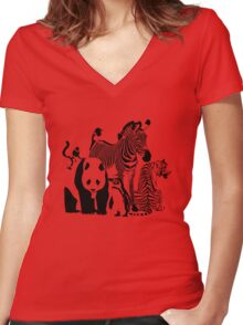Spots and Stripes Women's Fitted V-Neck T-Shirt