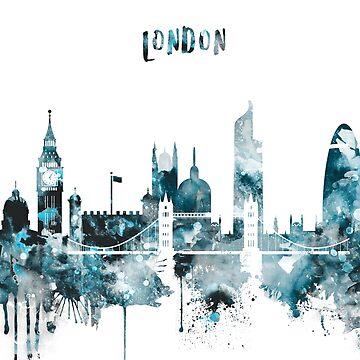 London Monochrome Blue Skyline by DimDom