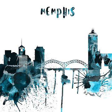 Memphis Monochrome Blue Skyline by DimDom
