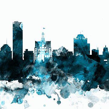 Milwaukee Monochrome Blue Skyline by DimDom