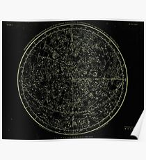 Constellations of the Northern Hemisphere | Yellowed Ink on Black Poster