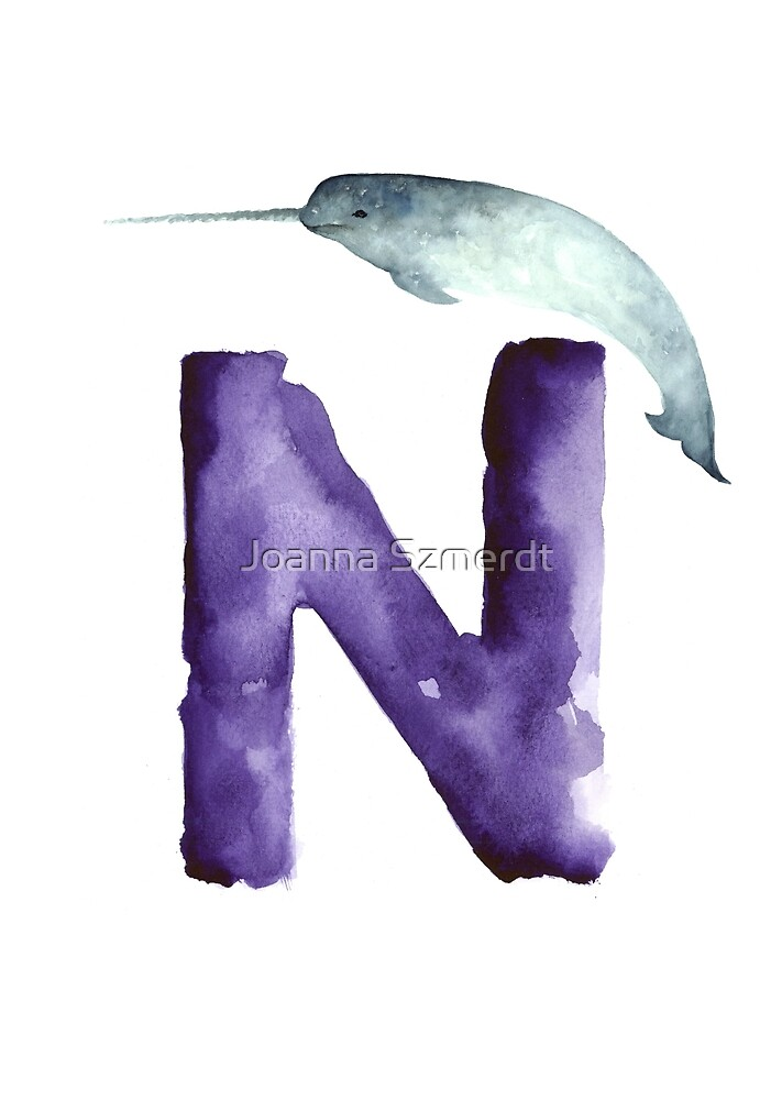 Narwahl watercolor alphabet painting by Joanna Szmerdt