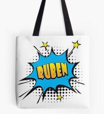 Comic book speech bubble font first name Ruben Tote Bag
