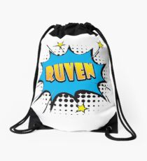 Comic book speech bubble font first name Ruven Drawstring Bag