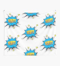 Comic book speech bubble font first name Scott Wall Tapestry