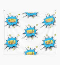 Comic book speech bubble font first name Thilo Wall Tapestry