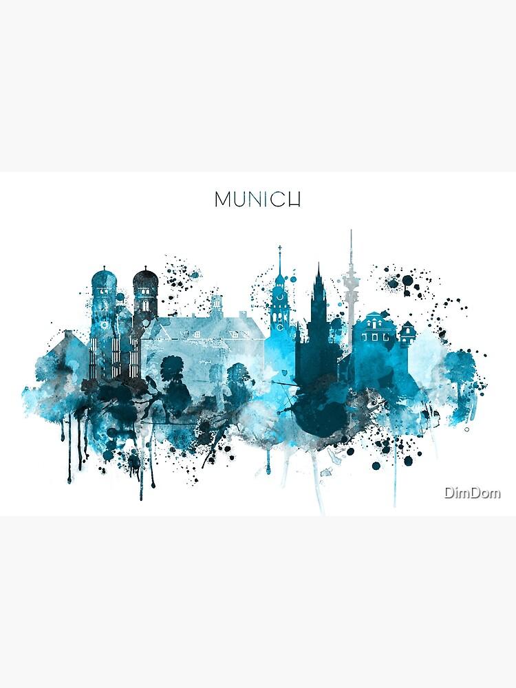 Munich Monochrome Blue Skyline by DimDom