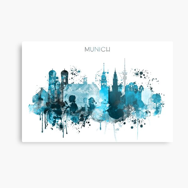 Munich Monochrome Blue Skyline Metal Print