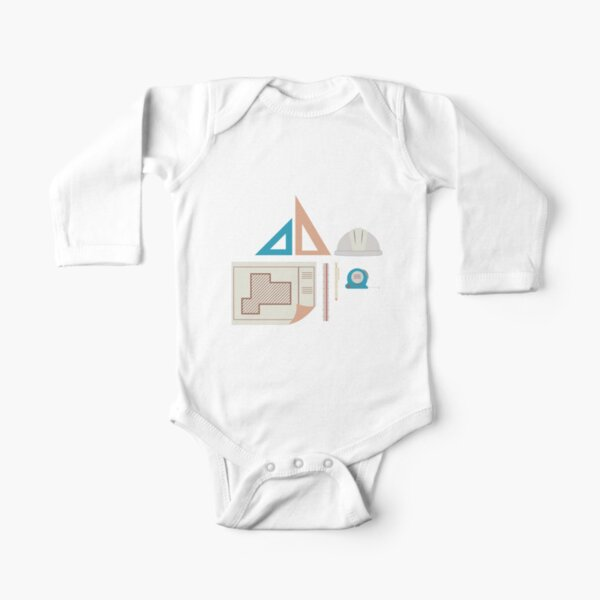 Architecture Icons Illustrations Long Sleeve Baby One-Piece