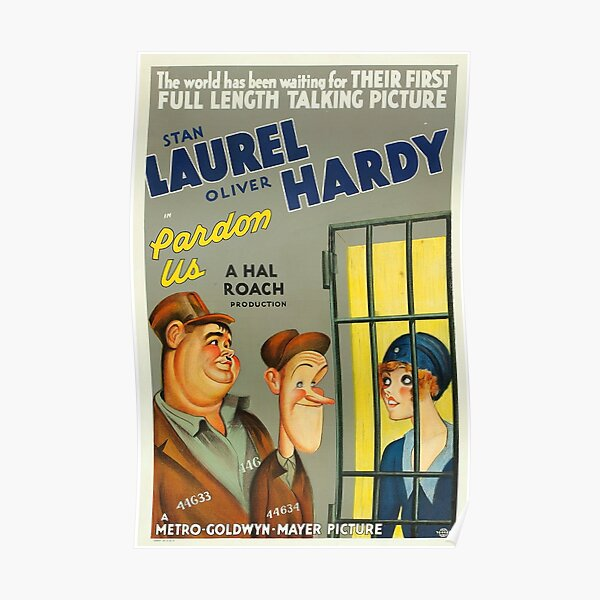 Classic Movie Poster - Laurel and Hardy in Pardon Us Poster