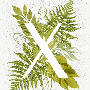 Monograma de la letra X con helecho verde acuarela y hojas de helga-wigandt