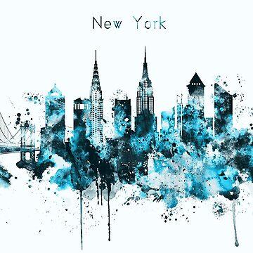 New York Monochrome Blue Skyline by DimDom