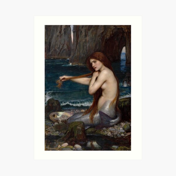 Vintage John William Waterhouse Mermaid 1900 Art Print