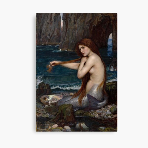 Vintage John William Waterhouse Mermaid 1900 Canvas Print